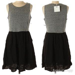 NWT Kenar Knit to Woven Grey/Blk Twofer Dress SZ M